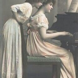 Girls at the Piano, Old Photograph, Muscatine, IA Piano Tuning, Craig W. Clough, clough7@gmail.com (309) 786-8617