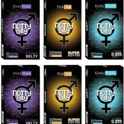 NottyBoy Condoms Variety Pack of 1000 Ct - Over Time Climax Delay, Extra Thin and Extra Dotted Condoms